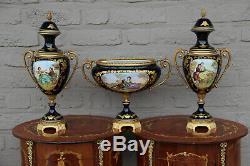 French Porcelain blue de sevres Vases Centerpiece romantic victorian set