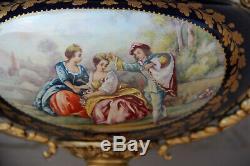 French Porcelain cobalt blue Victorian romantic scene bowl centerpiece