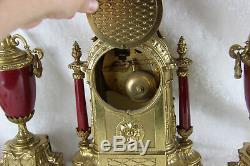 French Porcelain victorian scene Clock set candelabras urns FHS movement
