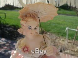 French Provincial Porcelain Figurine Table Lamps Fringed Lamp Shades Pink Cream