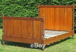 French Solid Pitch Pine Standard Double (4ft 6 wide) Bed with Pine Base
