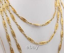 French Victorian 18K Gold Heavy 55 Gram 60 Inch Layering Chain, Antique Necklace