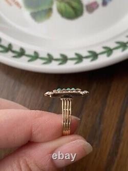 French Victorian 6 TURQUOISE 18 Seed Pearls 18k Rose Gold Navette RING Antique