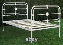 French Victorian Cast Iron Small Double (4 feet wide) Bed with Base
