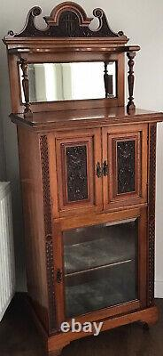 French / Victorian Mirror Top Cabinet With Oak Carved Front & Glass Doors