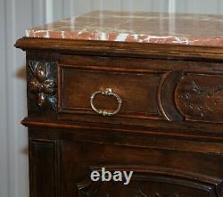 French Victorian Walnut Burr Satinwood Sideboard Chest Of Drawers Marble Top