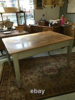 French Victorian stripped pine kitchen table with drawer