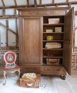 French oak double knockdown armoire wardrobe linen press shelves drawers keys