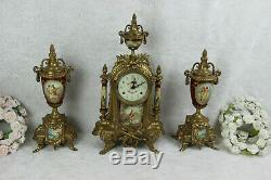French porcelain Burgundy red romantic victorian Clock set vases