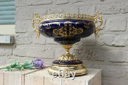 French porcelain Cobalt blue Centerpiece bowl victorian scene satyr paws metal