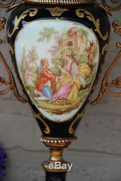 French porcelain cobalt blue de sevres Vase romantic victorian scene