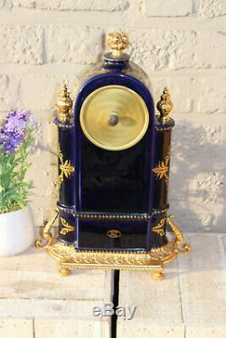 French vintage cobalt blue limoges porcelain mantel clock Victorian scene