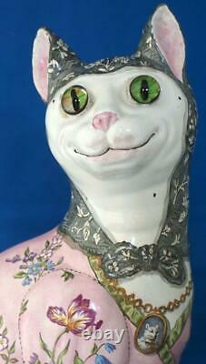 Galle Cat Antique French Faience Large Animal Signed Nancy Glass Eyes