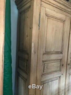 Genuine Antique Pine Double Door Wardrobe (french amorie)