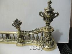 Georgian Brass Fire Front Fender Guard French Victorian Antique Urns