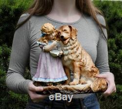 Girl Cherub Child & St Bernard Dog Piano Baby French bisque porcelain figurine