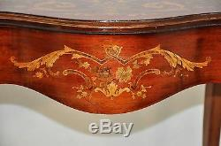 Gorgeous Antique Inlaid Marquetry French Victorian Mahogany Parlor Side Table