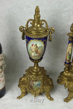 Gorgeous French Porcelain victorian scene Clock set candelabras urns FHS