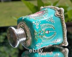 Gorgeous Victorian French Solid Silver Mounted Porcelain Scent Perfume Bottle