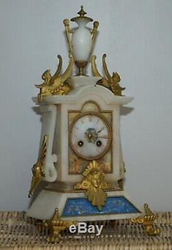 Hand Painted & Gold Gilt French Circa 1850 Victorian Alabaster Mantle Clock
