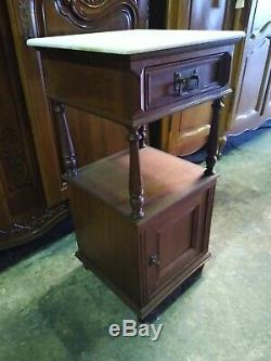 Handsome oak and marble antique French bedside cabinet table