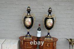 Huge 26.7 pair French limoges blue porcelain Vases victorian romantic decor
