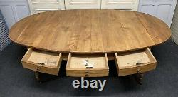 Huge French Fruitwood Farmhouse Oval Dining Table C1830 Very Rare Table