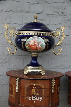 Huge French cobalt blue porcelain centerpiece lidded bowl victorian scene