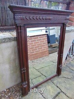 LARGE ANTIQUE 19th CENTURY FRENCH CARVED OAK BEVELLED OVERMANTLE MIRROR