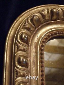 LARGE ANTIQUE FRENCH GILT WALL MIRROR C1890, OVERMANTLE original mirror plate
