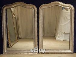 LARGE PAIR ANTIQUE FRENCH SILVER GILT WALL MIRRORS C1880, over 5ft tall. MIRROR