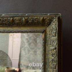 Large 19th Century Antique Giltwood French Overmantle Foxed Mirror