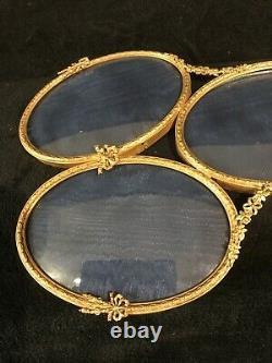Large Antique French Gilt Bronze Triple Oval Image Hanging Frame-327e