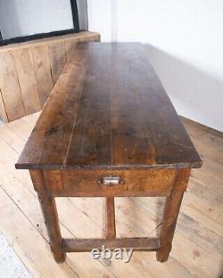 Large Antique French Oak Farmhouse Dining Table With Drawers C1890