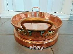 Large Antique French Victorian Dovetailed Copper Oval Roasting Serving Tray Dish