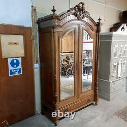 Large Antique Solid Wood French Armoire / Wardrobe