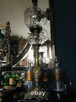 Large Excellent antique french Brass oil lamp