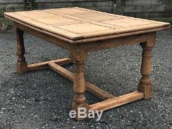 Large Farmhouse Bleached Oak Draw Leaf Dining Table Circa 1890 French, Kitchen