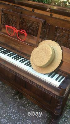 Large Fine Antique French Carved Victorian Metzler Rosewood Upright Music Piano