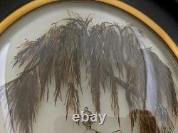 Large French 1870 Antique Victorian Sepia Sentimental Mourning Hair Art