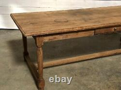 Large French Bleached Oak Farmhouse Dining Table With Drawers C1850