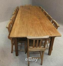 Large French Farmhouse Rustic Waxed Reclaimed Pine Kitchen Table 9ft Long