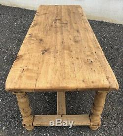 Large Rustic French Bleached Oak Farmhouse Refectory Dining Table Circa 1850