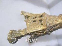 Large Victorian Brass Candle Sticks French Church Gilt Cross Floral Antique 20