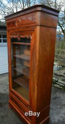 Large Victorian French Walnut Display Cabinet Good Condition