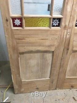 Large Victorian Stained Cut Glass Doors Antique Period Reclaimed Old French Wood
