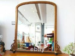 Late 19th Century Giltwood French Overmantel Mirror. Antique/Victorian/Gold