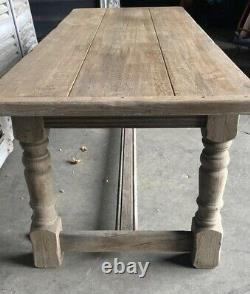 Light Colour Bleached Oak Farmhouse Refectory Dining Table C1920 French Kitchen