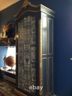 Louise Armoire, French Grey & Gold, With Designer Timney Fowler Fabric