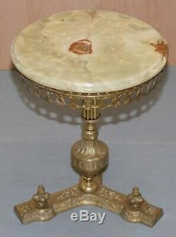 Lovely Regency Brass Style French Brass And Onyx Round Side End Lamp Wine Table
